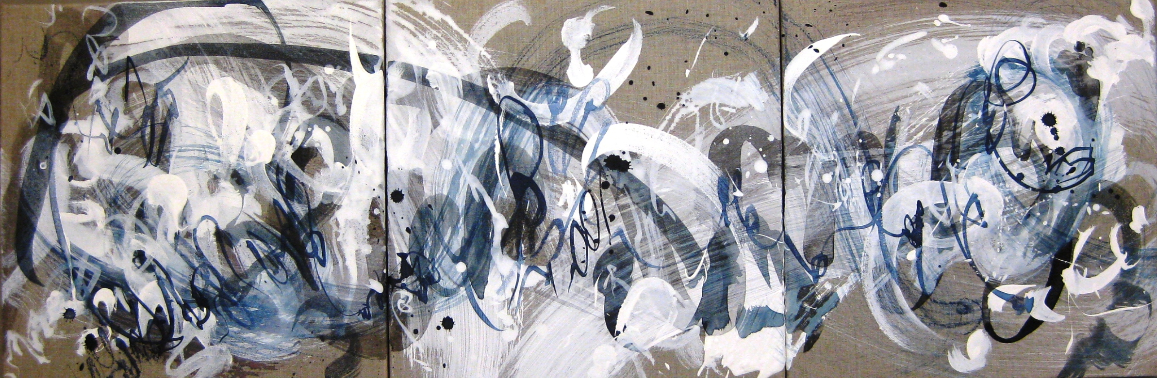 Caroline Banks Art - Impermanence (triptych) - Gesso and ink on natural linen canvas