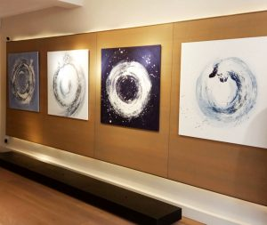 Series of paintings by Caroline Banks at Pringle of Scotland Mayfair store